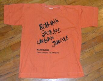 1990 ROLLING STONES in Barcelona Spain vintage concert tour rare original rock crew t-shirt Medium (M) 80s 1980s Mick Jagger Keith Richards