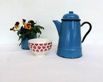 Vintage, made in Poland, enamel coffee pot in a dark aquamarine blue