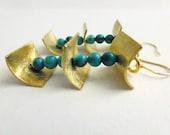 Turquoise dangle earrings, December birthstone earrings, gold statement earrings, genuine turquoise earrings, gold plated silver earrings,