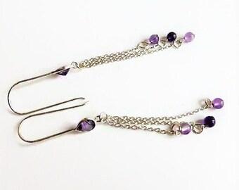 Purple amethyst drop earrings, earrings with chain, amethyst birthstone earrings, amethyst jewelry, long hanging earrings,  earrings UK