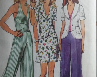Vintage Simplicity 5689 Sewing Pattern Size 14 Bust 36  Jacket, Halter-Vest, and Mini-Skirt
