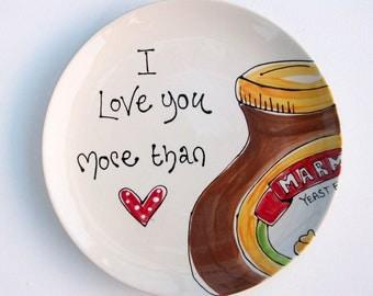 Valentine's Day  Personalised Plate Nutella Marmite