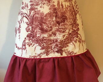 Apron, Cooking Apron, Handmade Apron, Hostess Apron, Half Apron, Hostess Gift, Kitchen Apron, Women Apron, Hostess Gift Burgungy Apron