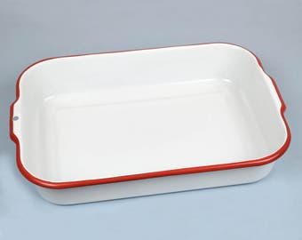 Vintage   Enamel Photographic Developing Tray  White with Red Trim, Photo Tray, Enamelware, 13.5 x 9.5