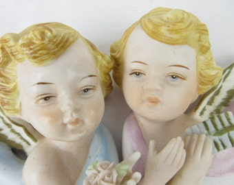 Vintage Cherub Angel Cupid Wall Decor Pair, Mid Century Japan, Napcoware