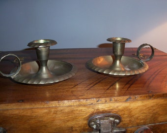 Pair of Vintage Brass India Candle Holders Taper Candlestick Chamberstick
