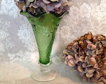 Hand blown glass vase footed clear over green cased floral embossed bell rim retro romantic cottage chic wedding home decor