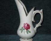 "Vintage 1959 Mccoy Pottery ANTIQUE ROSE LINE 9"" Pitcher Vase #372, Gloss White"