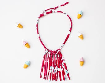 Toddler necklace cotton knit tassel girl baby