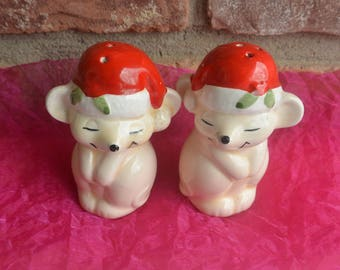 Mice Salt & Pepper Shakers - Hand Painted, Red White Hats  - Vintage - Fabulous!