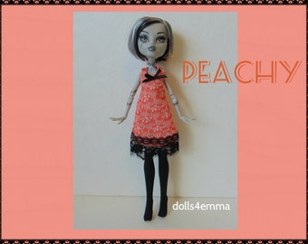 Monster High Doll Clothes - PEACHY Dress and Black Stockings - Handmade by dolls4emma