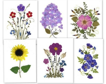 Pressed Flower Cards - 6 Assorted Pressed Flower Notecards - #070
