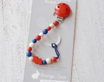 Baby pacifier clip, beaded pacifier clip, pacifier holder, red pacifier clip, baby boy pacifier clip, train pacifier clip