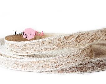 "Burlap Lace Ribbon-  7/8"" Wedding Ribbon- Craft Supplies- Hairbow Headband DIY Supplies- Wedding Decor"
