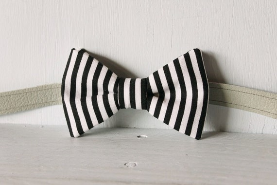 Bow tie unisex >> Black, white stripe bow, leather strap, buckle >> Brisbane