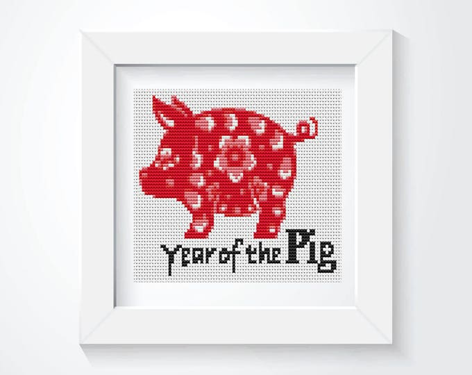 Mini Cross Stitch Kit, Embroidery Kit, Art Cross Stitch, Year of the Pig (TAS112)