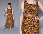 70s Floral Print Hippie Dress M L Brown Flower Power Corduroy Dress Jumper Dress Maxi Dress