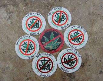 1990s ~ NARCOTICS/VICE DIVISION Pogs ~ Keep Off The Grass Pog ~ Seven (7) Hawaiian Pogs