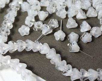 Czech glass Beads Bell Flower Cristal White 25 Pcs, Czech Glass Beads, Czech Glass, Czech Bell Flower Beads, Czech Glass Beads, Czech Beads