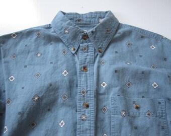 Vintage Bugle Boy Denim Short Sleeve Collared Shirt