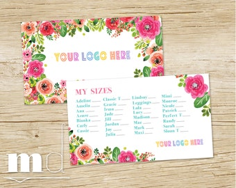 My Sizes Card, My Size Business Card, Floral Design Lula Marketing Branding, What's My Size Clothing, Approved Colors/Fonts Floral PRINTABLE