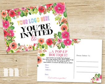 Pop Up Boutique Invitation, Pop Up Party Invite, Custom LLR Event Invitation 4x6, Roe Business Marketing, HO Approved Floral PRINTABLE