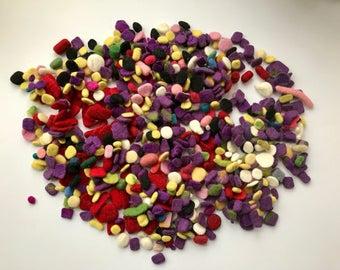 Beads Wet felted.Wool pebbels.Bulk.Hand made