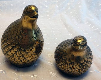 Set of Two Vintage Brass Quail or Partridge Figurines