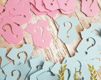 Gender Reveal Confetti, Gender Reveal Party, Pink and Blue, Baby Shower Confetti, Gender Reveal Decor, He or She Confetti