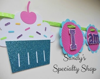 Lil' Cupcake - Sprinkles - Highchair Birthday Banner - ONE - I am 1 - Candy Pink, Aqua, Purple, Hot Pink Dot