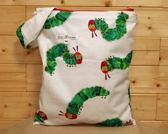 Cloth Diaper Wetbag, Very Hungry Caterpillar, Diaper Pail Liner, Diaper Bag, Holds 5 Diapers, Size Medium with Handle item #M13