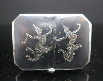 Sterling Silver Siam Brooch Rectangle God Goddess 925 Nielloware Jewelry Mid Century