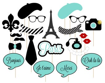 Printable Paris Photo Booth Props . Paris . Parisian . France . French . Turquoise/Black . Instant Download