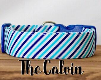 """Preppy Navy & Blue Diagonal Striped Dog Collar """"The Calvin"""""""