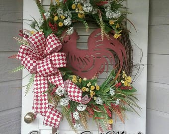Rooster wreath, Rooster Grapevine wreath, rooster sign, rooster decor, farmhouse wreath, farmhouse decor, Grapevine wreath, Floral Grapevine