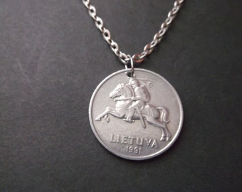 Lietuva Coin Necklace - Lietuva Knight on a Horse Coin Pendant  dated 1991