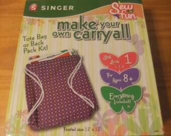 BACKPACK TOTE BAG Kit/Singer Make Your Own Carryall/Singer Sew Fun/Ages 8+/Singer 00984