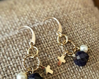 SageAine: Sapphire Pearl Gold Cross Dangle Earrings, Serenity, Manifestation,Archangel Metatron and Zadkiel, Reiki Charged, Crystal Healing