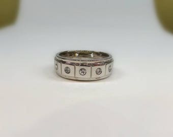 Diamond Mens Wedding Band / 14 K Men s wedding ring with 0.25 ct natural diamonds / 14 k white gold mens ring/Bridal for men