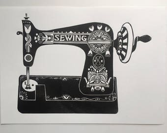 Sewing Machine - Linocut print - Wall Art - Gift for the home  - Present for Sewer - Craft Room Art - Vintage Sewing Machine - Sewing gift