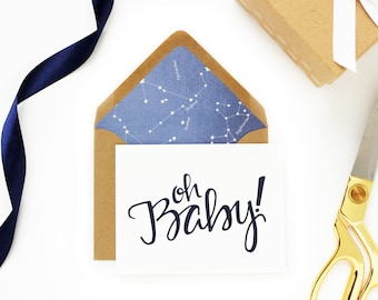 Hand Lettered 'Oh Baby' Card; Blue and Kraft