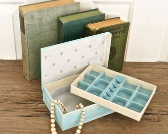 vintage shabby jewelry box seafoam blue