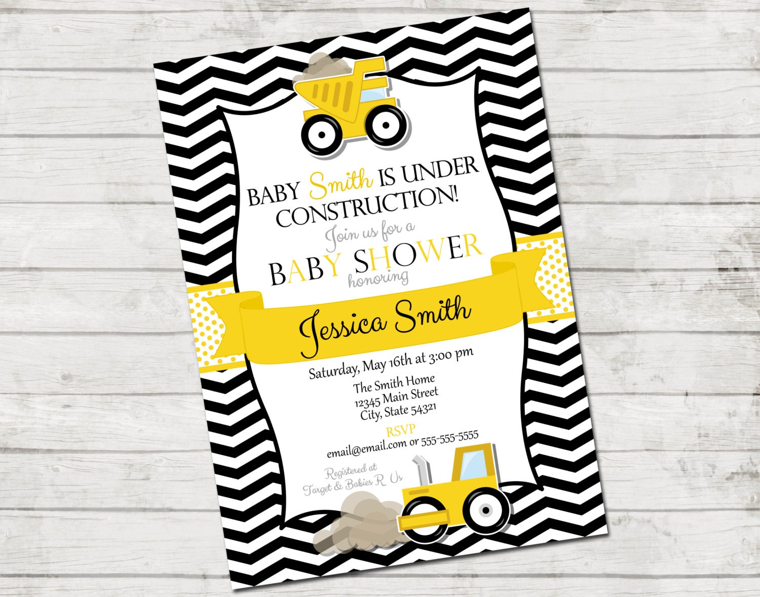 construction baby shower invitation under construction
