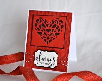 Valentine Card, Valentine's Card, Wedding Card, Heart Card, Elegant Card, Always and Forever, Love Card