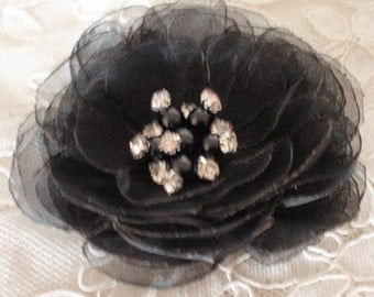 Singed Flower Singed Rose Organza Flower Fabric Flower Fabric Rose Pearl and Rhinestone (3-1/2 inches) In Black MY-630 Ready To Ship