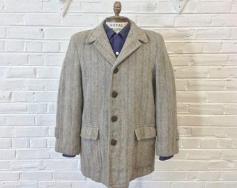 Vintage 1950s Penney's Gray Striped Car Coat. Size 38