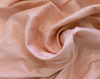 Dupioni silk in soft peach