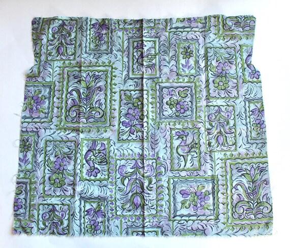 Vintage 1950s 1960s Cotton Fabric Blue Lavender And