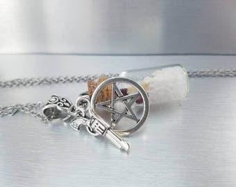 Supernatural necklace - salt and burn - supernatural salt burn - ghost hunter - salt vial necklace - supernatural jewelry gifts -  salt vial