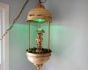 Oil Rain Swag Lamp, Vintage Kitsch Boy And Girl With Umbrella Working  Condition
